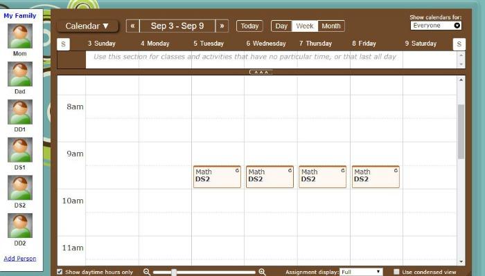 Homeschool Planet Weekly Calendar View