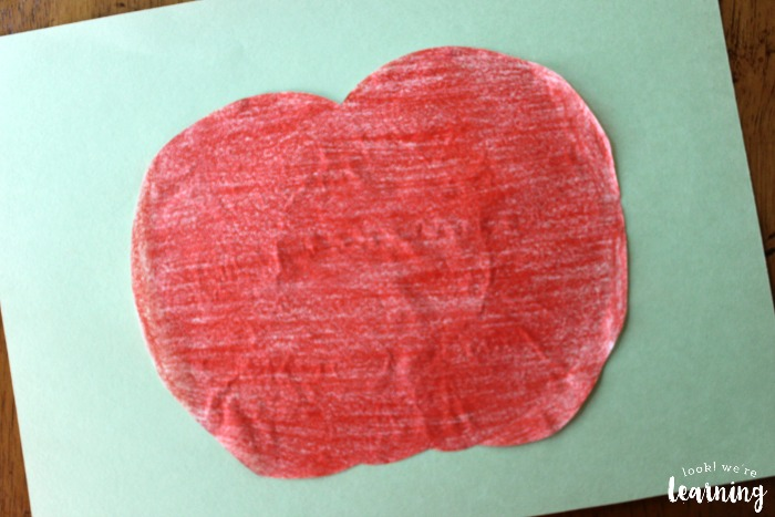 Making a Coffee Filter Apple Craft