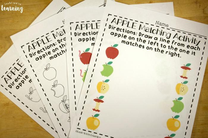 Preschool Worksheets: Apple Preschool Matching Worksheets