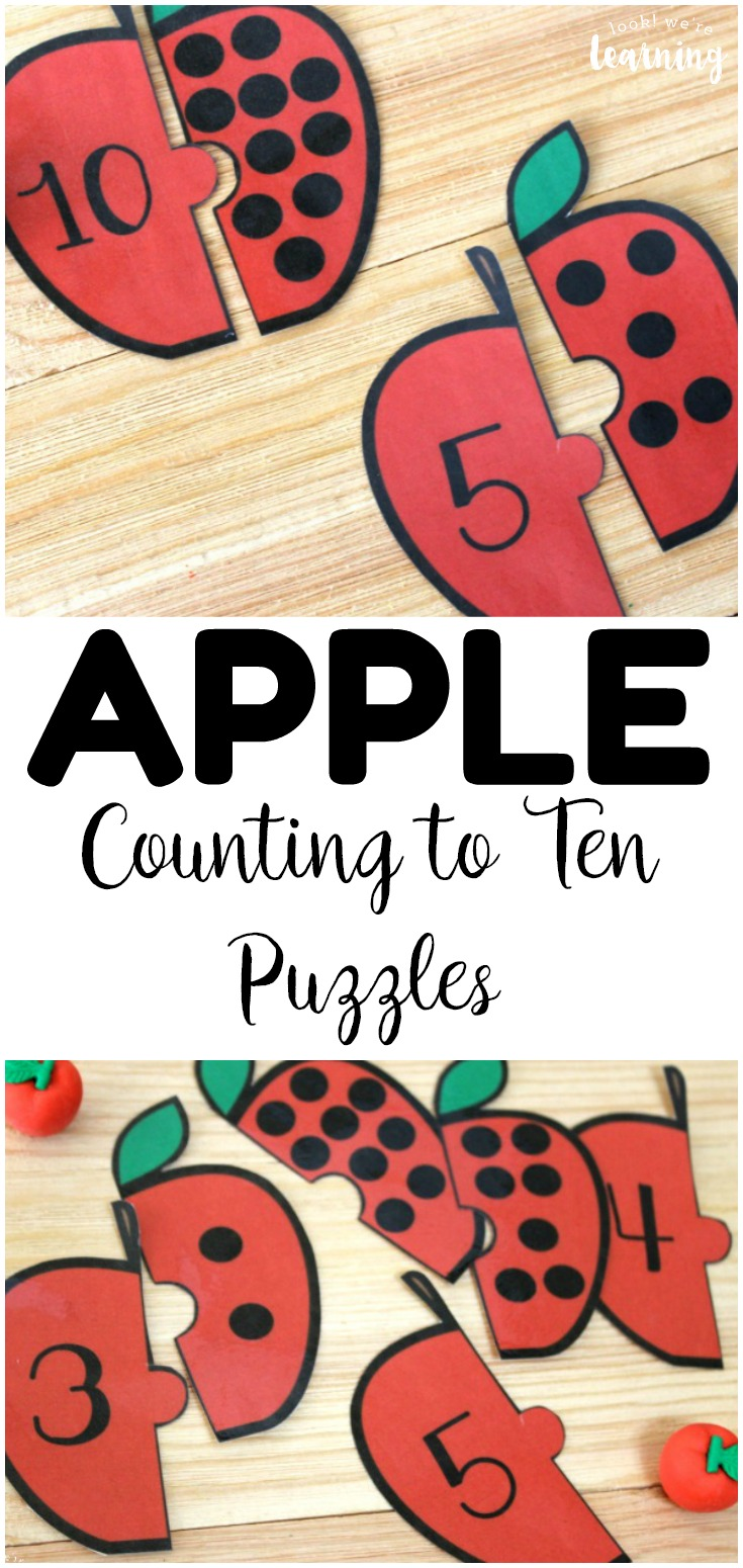 Practice counting to ten with these fun, apple-themed counting puzzles for kids! So fun for fall math centers!