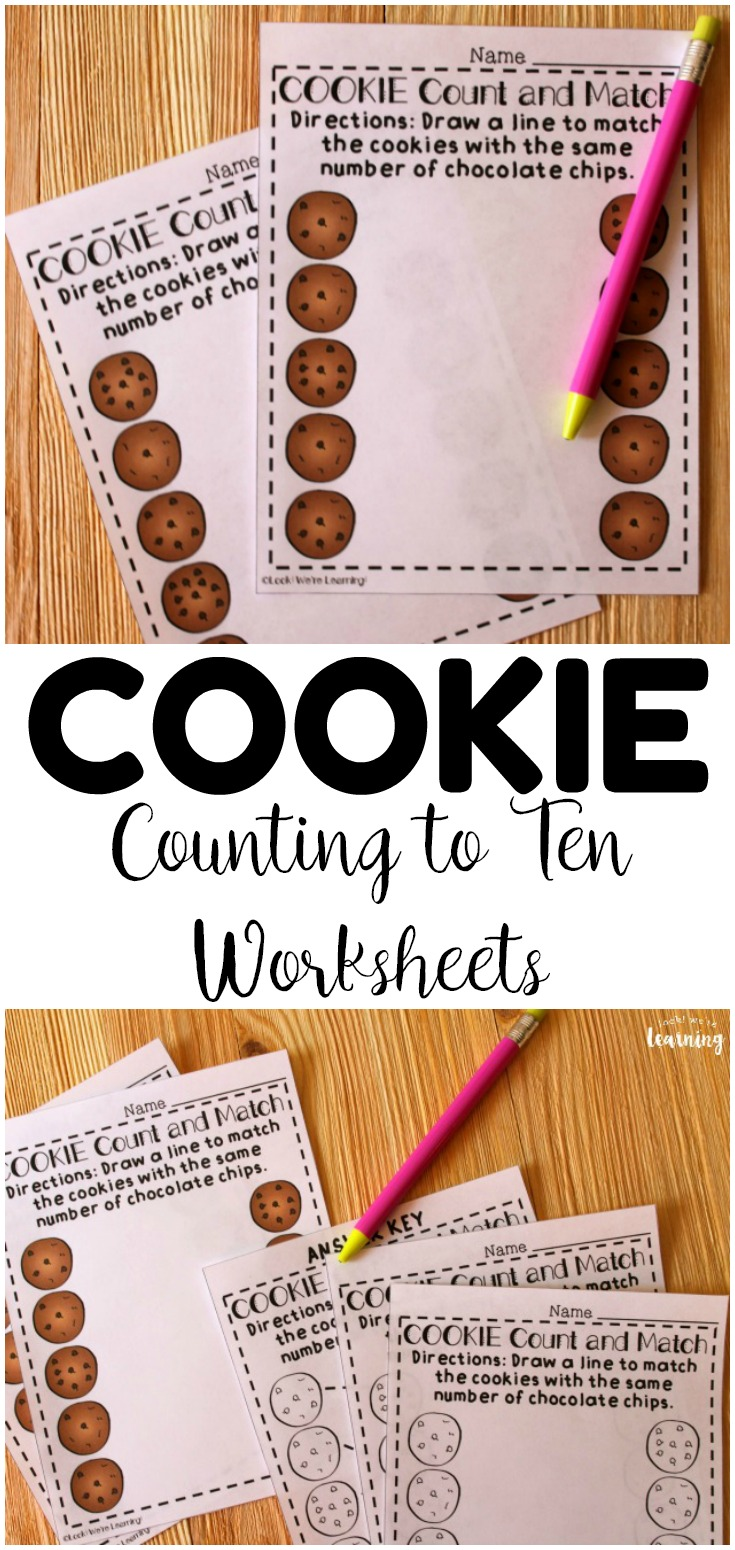 Practice counting to ten with these fun cookie themed counting to ten worksheets! Laminate these to use at math centers or place them in morning tubs!