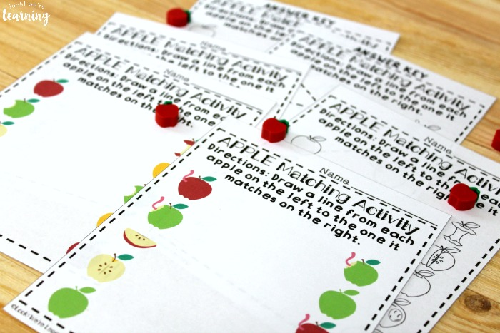 Printable Apple Matching Worksheets for Preschool