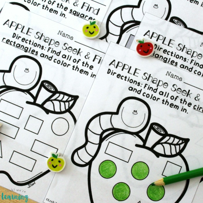 Printable Apple Shape Sorting Worksheets for Preschoolers