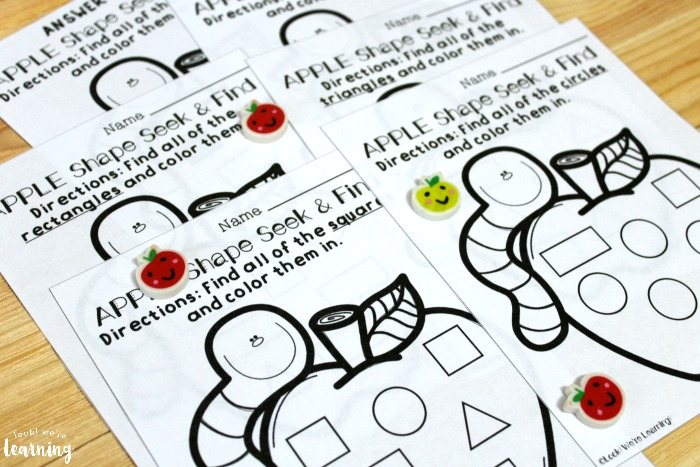 Printable Apple Shape Sorting Worksheets