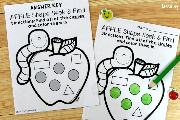 Printable Apple Themed Shape Sorting Worksheets for Kids