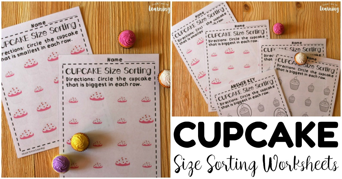 Printable Cupcake Themed Size Sorting Worksheets for Early Learners