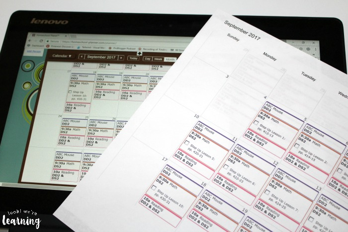 Printing Out Homeschool Planet Schedules