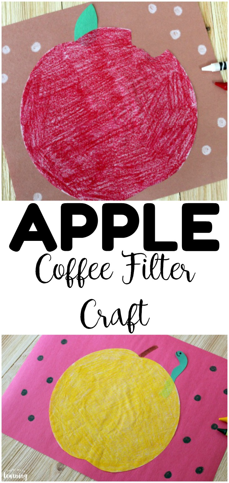 Share this easy coffee filter apple craft to make one of the easiest fall crafts for kids there is! Perfect for art class or crafting time!