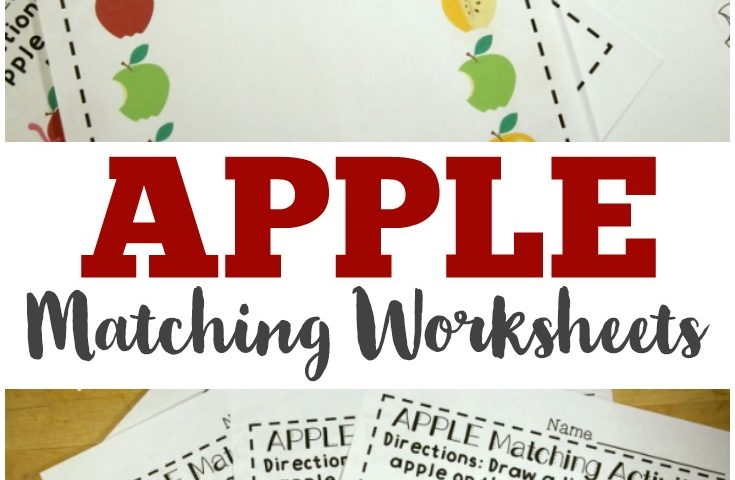 Preschool Worksheets: Apple Preschool Matching Worksheets
