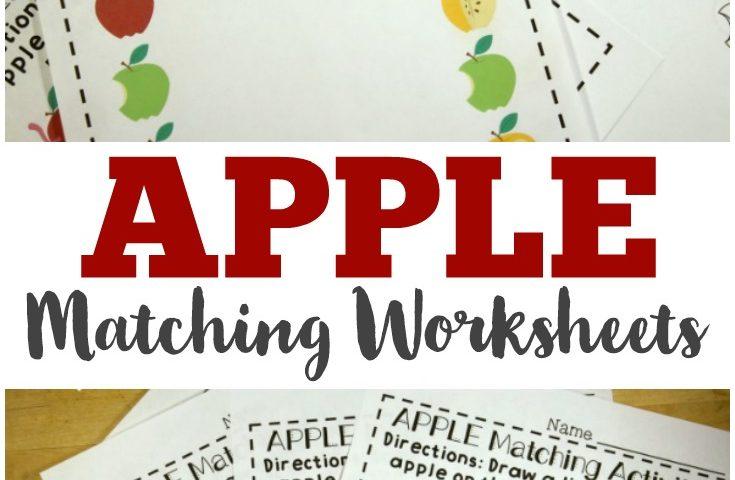 Apple Preschool Matching Worksheets