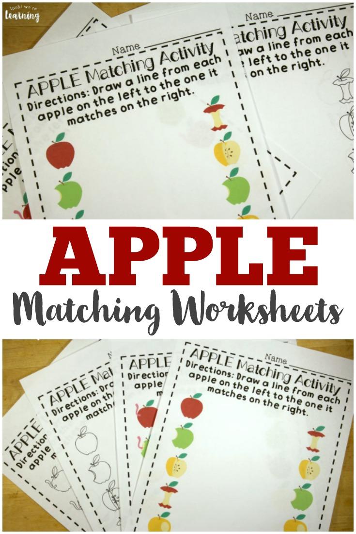preschool worksheets apple preschool matching worksheets look we 39 re learning. Black Bedroom Furniture Sets. Home Design Ideas