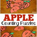 These fun apple counting puzzles are great for helping early learners relate numerals to objects!