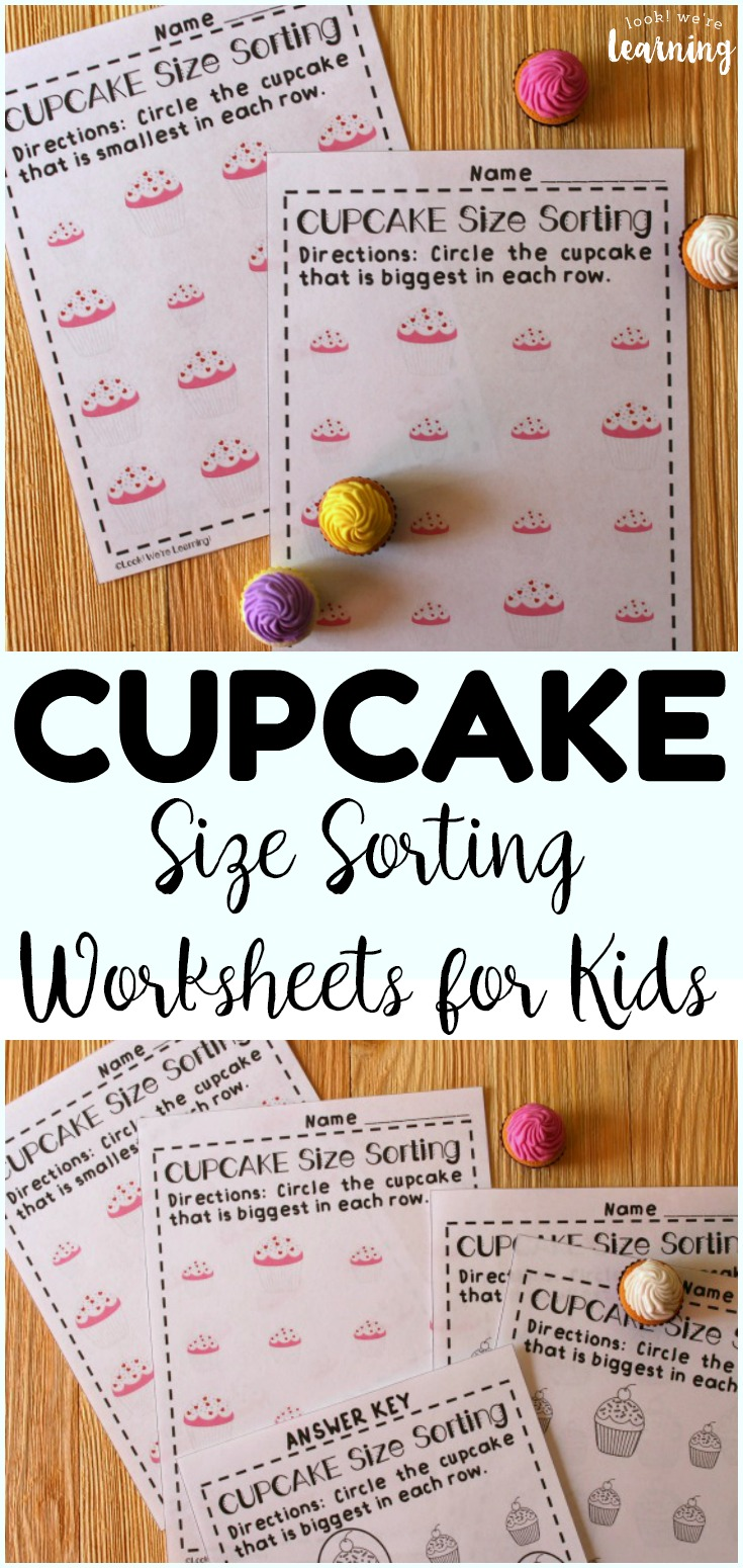 These fun cupcake themed big and small worksheets are great for helping little ones sort objects by size!