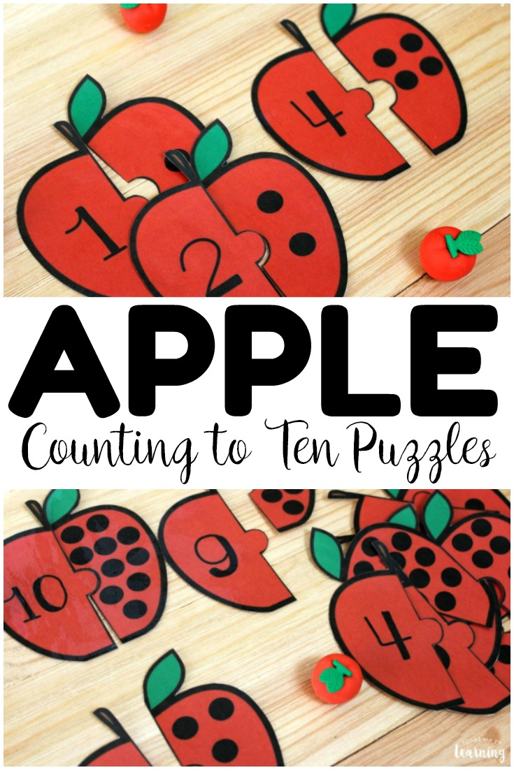These printable apple counting puzzles are perfect for early math lessons! Use them at fall math centers or for an interactive apple lesson for little ones!