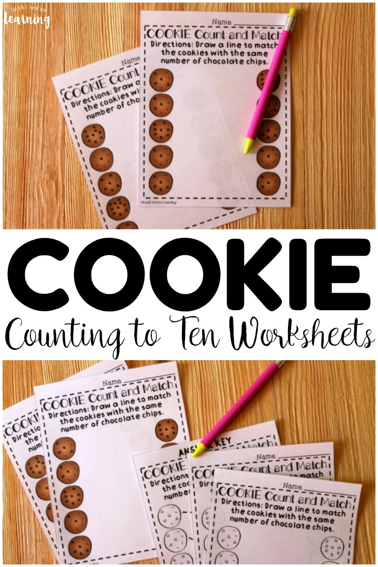 These printable cookie counting to ten worksheets are so fun for math centers or morning tubs!