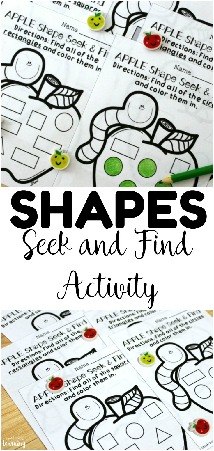 This apple themed shape sorting worksheets set is so fun for fall math centers! Early learners can use these to practice recognizing all four basic shapes!