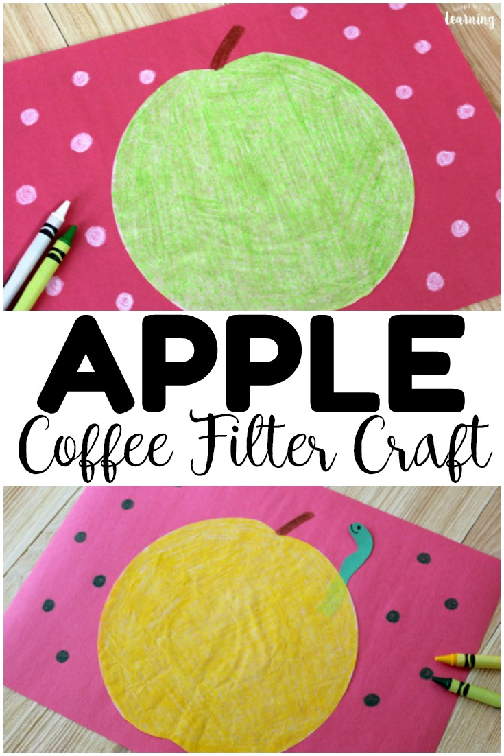 This easy coffee filter apple craft is a perfect simple fall craft for kids! Make one in red, yellow, or green to welcome fall with the kids!