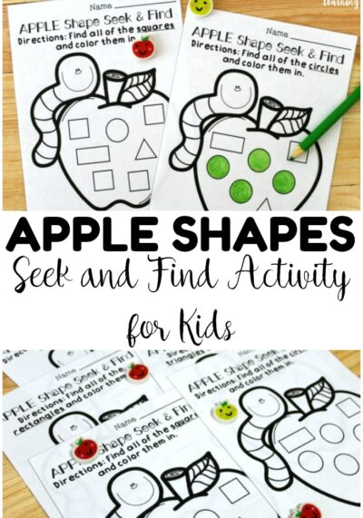 Use these apple shape sorting worksheets to help early learners practice recognizing the four basic shapes with a fun fall theme!