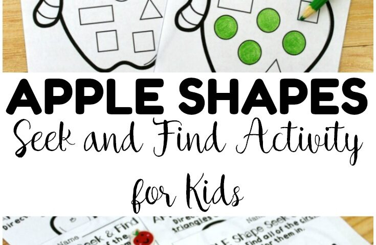 Preschool Worksheets: Apple Seek and Find Shapes Worksheets