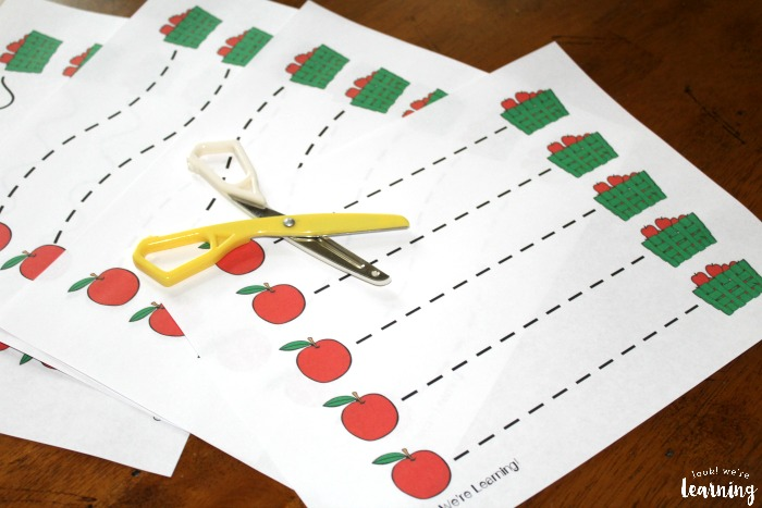 Apple Scissor Skills Worksheets for Kids