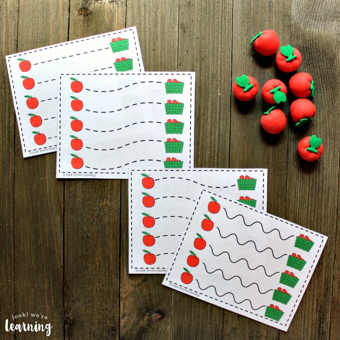 Apple Themed Scissor Skill Printables for Kids