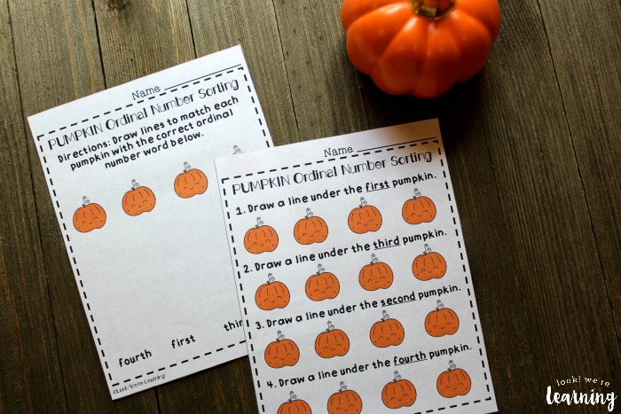 Fall Themed Ordinal Number Lesson for Kids