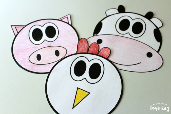 Farm Paper Bag Puppet Printables