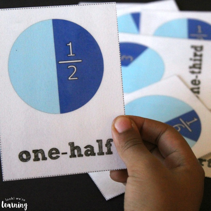 Fraction Flashcards for Elementary Math Practice