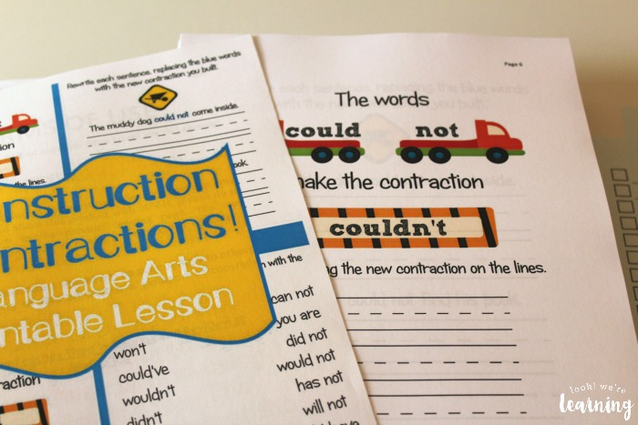 Homeschool Printing Service - Construction Contractions Lesson