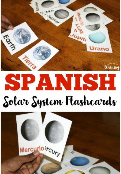 Printable Spanish Flashcards: Spanish Solar System Flashcards
