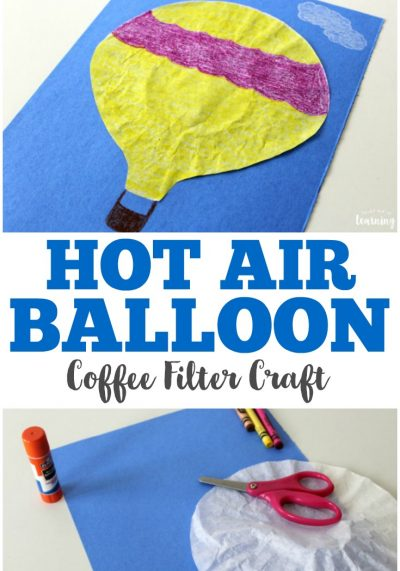 Make this simple coffee filter hot air balloon craft with the kids for some easy crafting fun!