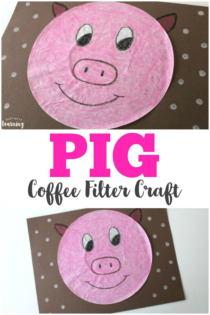 Make this sweet coffee filter pig craft with the kids for an easy art project!