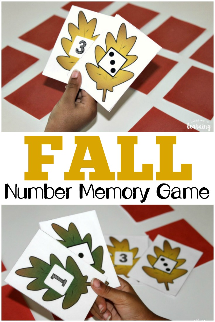Practice number recognition and counting skills with this simple preschool fall concentration game!