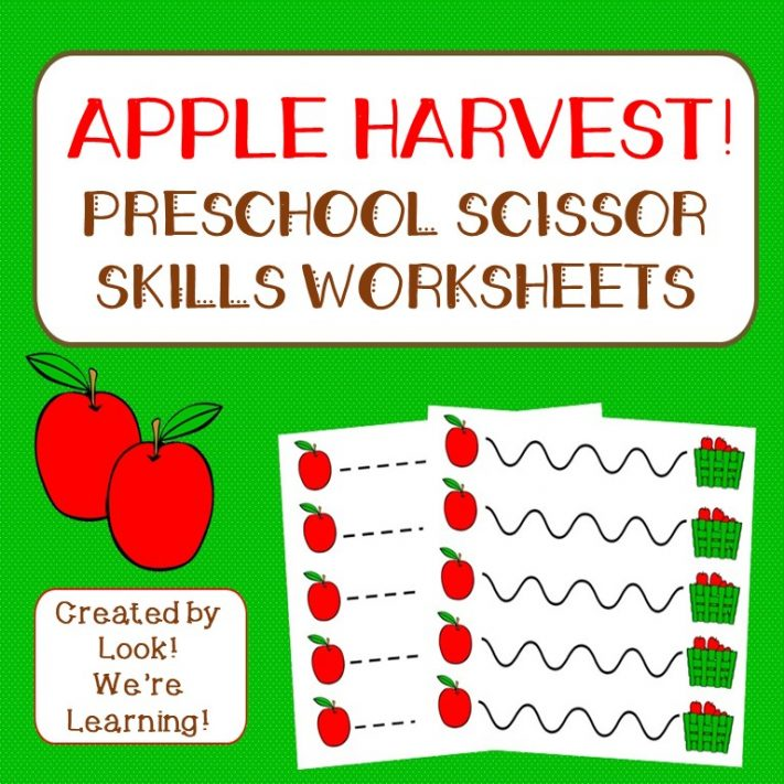 Printable Apple Preschool Scissor Skills Worksheets