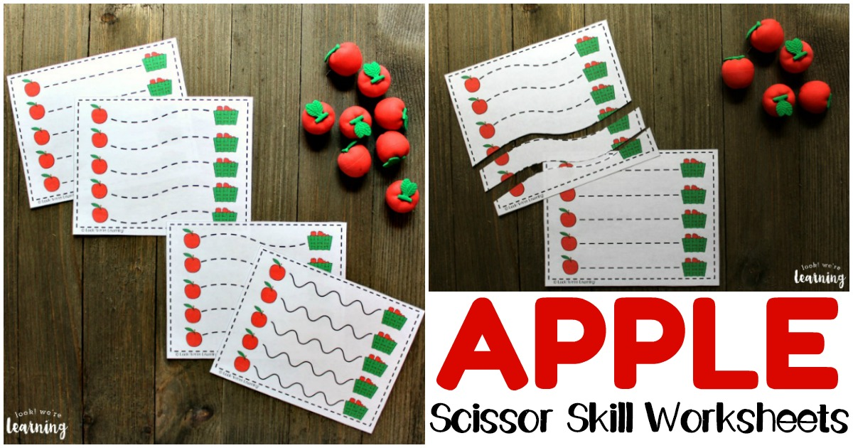 Printable Apple Themed Scissor Skill Worksheets for Kids