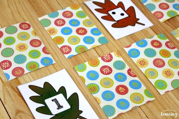 Printable Fall Counting Preschool Concentration Game