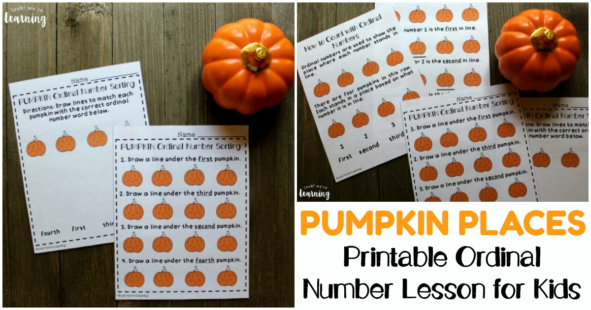 Printable Fall Ordinal Number Lesson for Kids