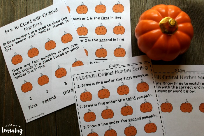Printable Pumpkin Themed Ordinal Number Lesson