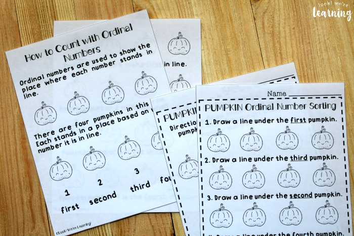 Pumpkin Places Ordinal Number Lesson