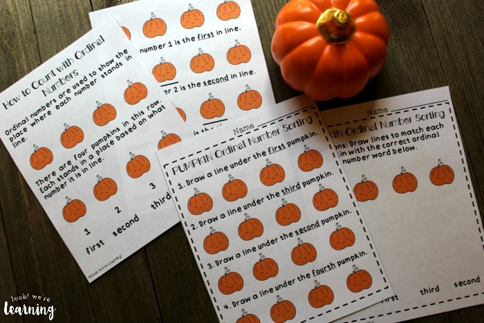 Pumpkin Places Printable Ordinal Number Lesson