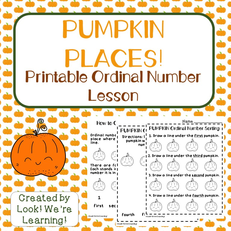 Pumpkin Preschool Ordinal Number Worksheets