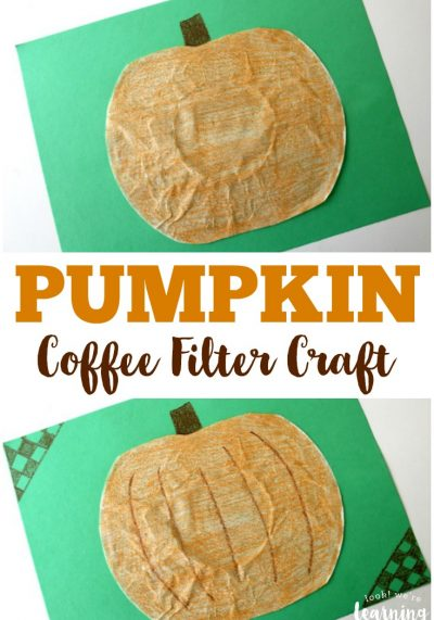 Share a simple fall craft with this easy coffee filter pumpkin craft the kids can make!