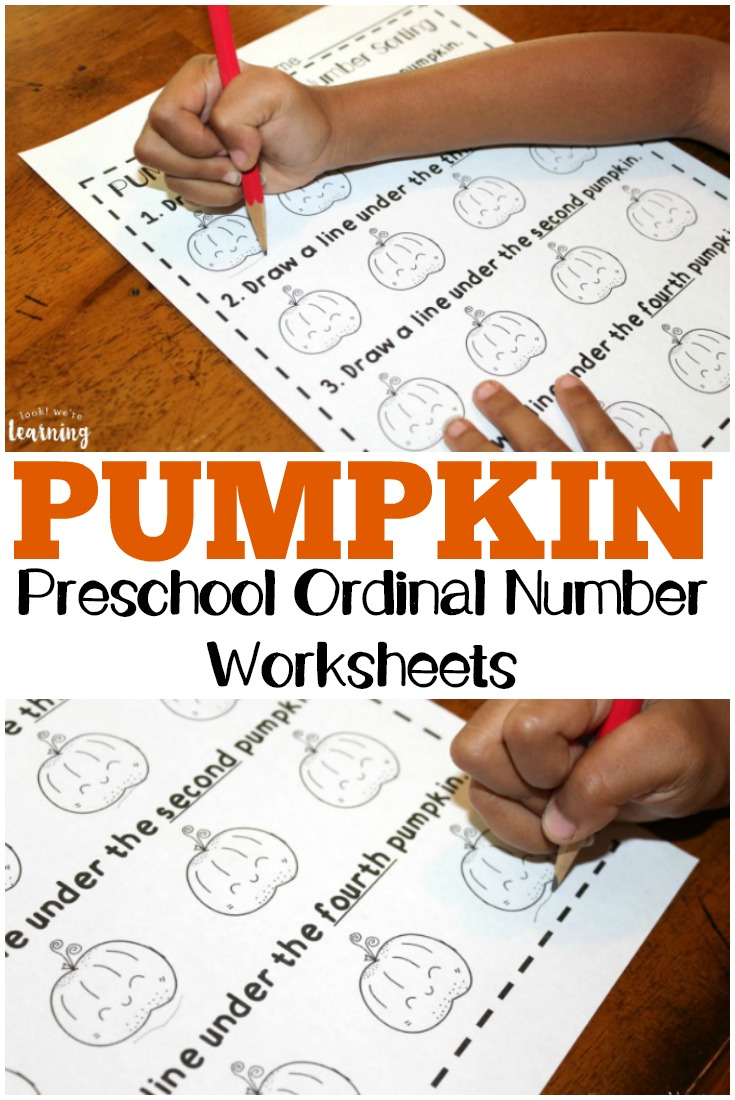 Teach preschoolers how to use ordinal numbers with these fun pumpkin-themed preschool ordinal number worksheets!