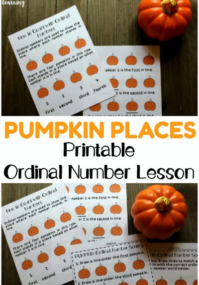 Teach your early learners to count with ordinal numbers using this fun pumpkin themed printable ordinal number lesson!