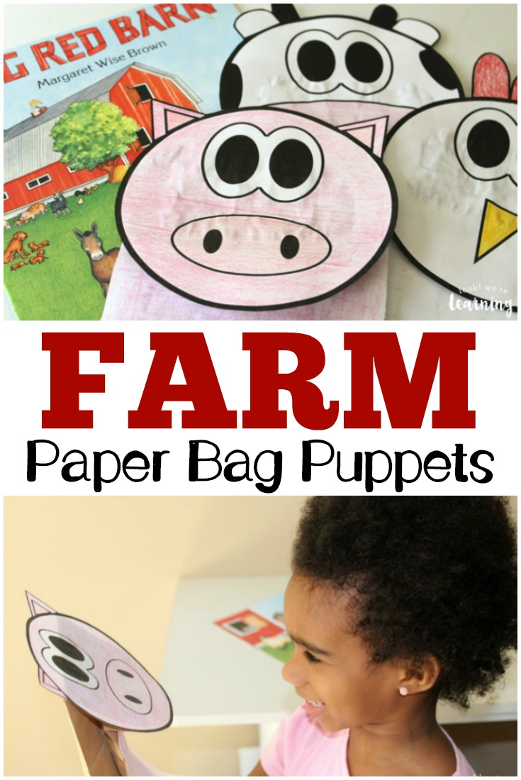 These adorable farm animal paper bag puppets are such a fun way to learn about barnyard animals with the kids!