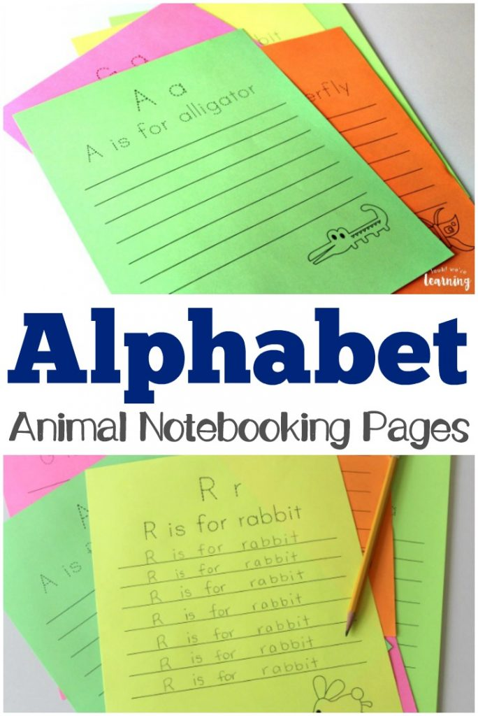 These alphabet animal notebooking pages are a fun way to practice handwriting!