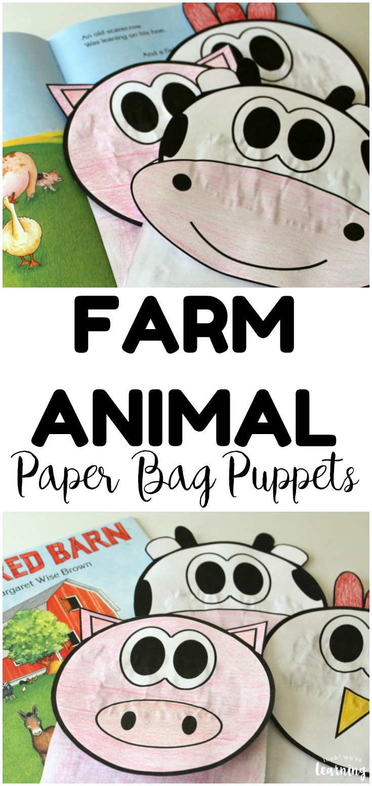 These farm animal paper bag puppets are a perfect craft for spring! Use them as an extension for books about farms!