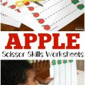 These printable apple preschool scissor skills worksheets are a fun way to add a fall theme to fine motor practice!