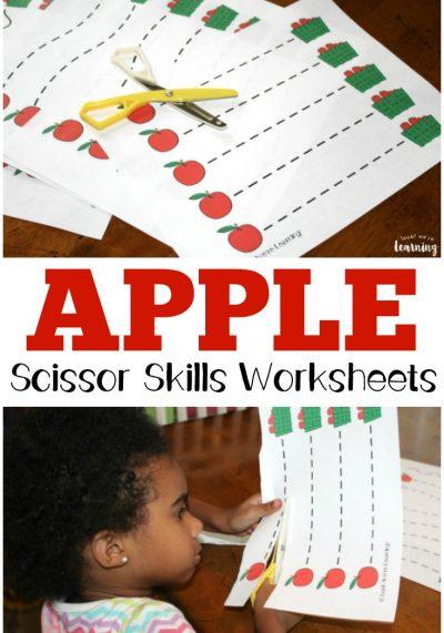 Apple Preschool Scissor Skills Worksheets