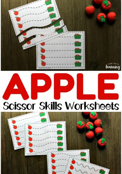 These printable apple preschool scissor skills worksheets are a fun way to practice fine motor skills with preschoolers!